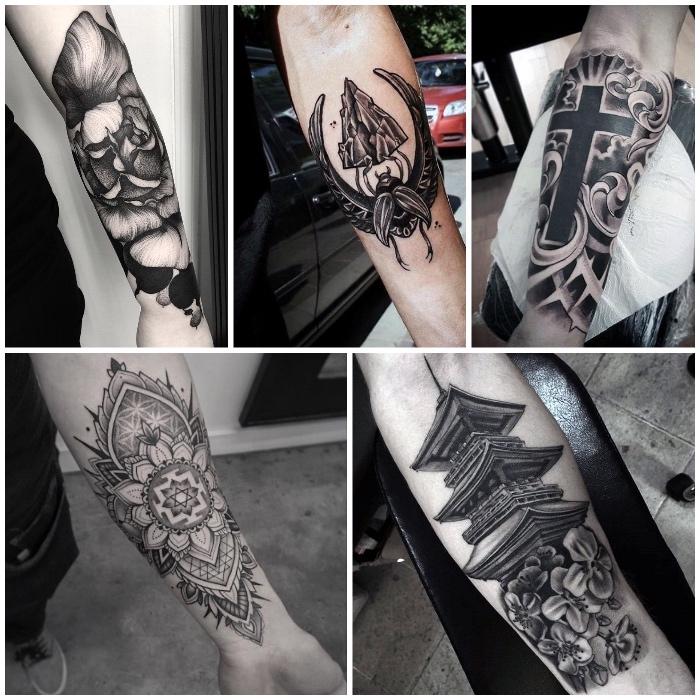 tatouage temple, symboles religieux et floraux tatoués sur le bras, style image graphique noir