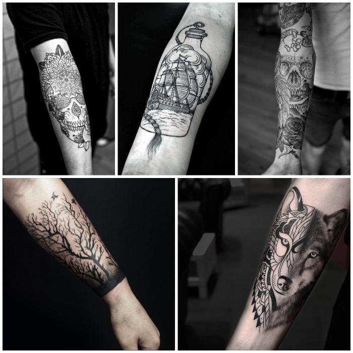 tatouage homme original avec détails compliqués, tatouage loup, arbre aux branches noires, bouteilles, crâne et fleurs