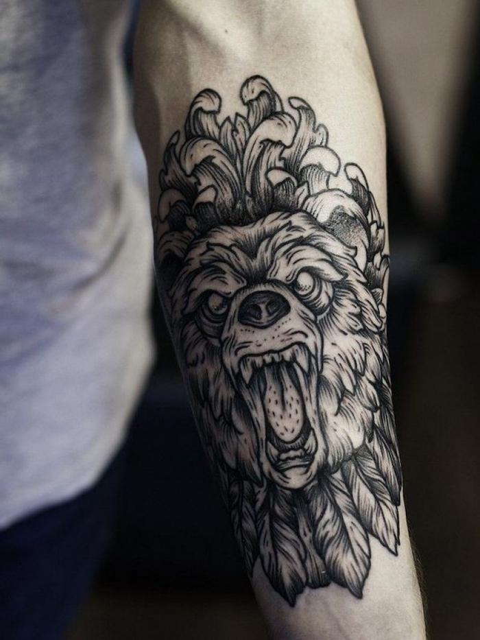 idée de tatouage tribal d un ours graphique, image diabolique d un animal sauvage, symbole de l audace