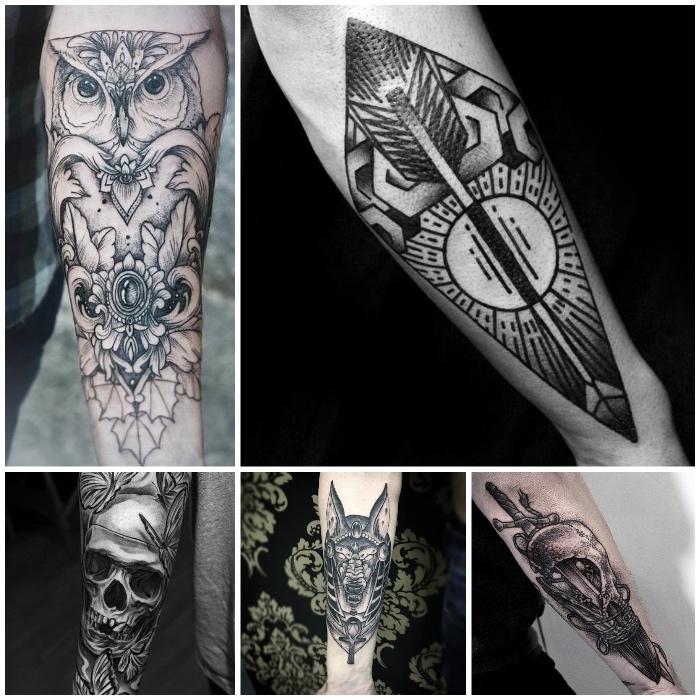 tatouage symbole hibou, crâne, chien et flèche, modele tatouage homme à signification cachée