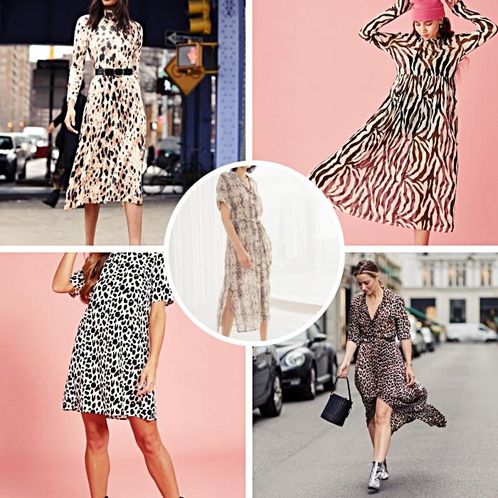 modèle de robe longue été à design animalier, idée robe longue presque transparente à motifs zèbre blanc et noir