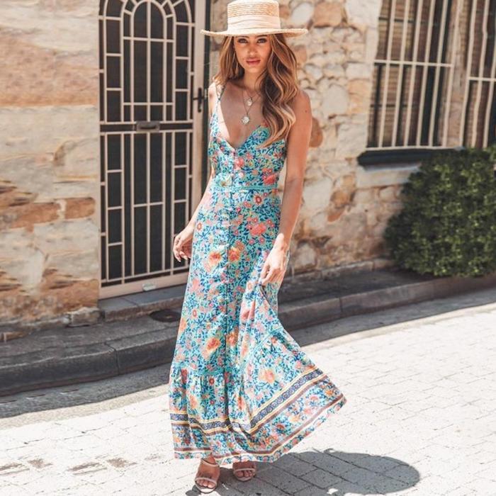 Fleurie robe debardeur, chapeau grand, villa exterieur, robe longue femme, robe ete 2019, robe longue ete pour aller à la plage