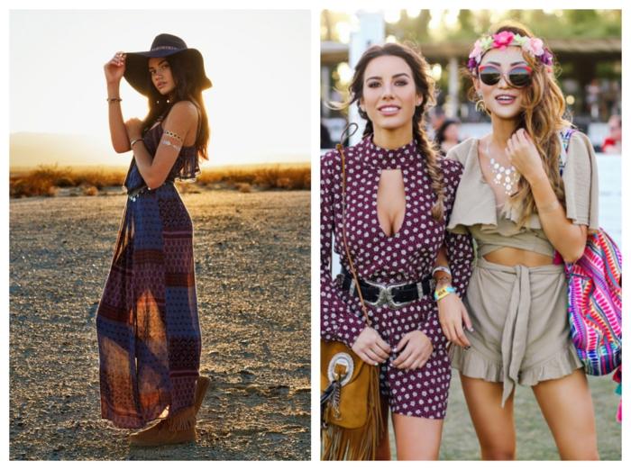 comment s'habiller en style hippie, robe longue fluide, combishort pointillé, short beige, top crop, couronne de fleurs, coiffure en tresse