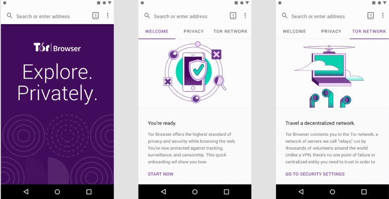 Image écran mobile pour lancement du navigateur Tor pour appareils Android