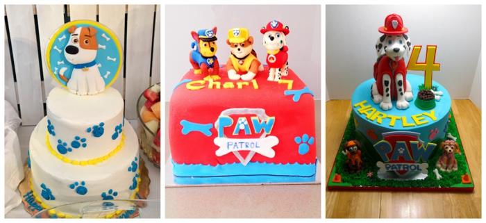 les héros de patte patrouille, glaçage blanc aux pattes bleues, gâteau rouge et bleu, gateau enfant 4 ans