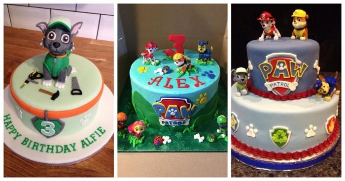 pat patrouille figurine, gâteau chien pat patrouille, gâteau gris de deux étages, commander un gâteau personnalisé