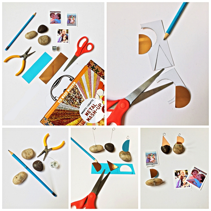 tuto pas à pas pour réaliser un porte-photo avec galets et lettres en papier métallisé doré à l'occasion de la fête des pères, idée de cadeau fete des peres a fabriquer avec les enfants en maternelle