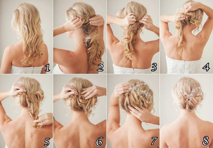 exemple de coiffure mariage boheme, comment faire un chignon bas flou avec accessoire design fleuri, pas à pas cheveux mariage