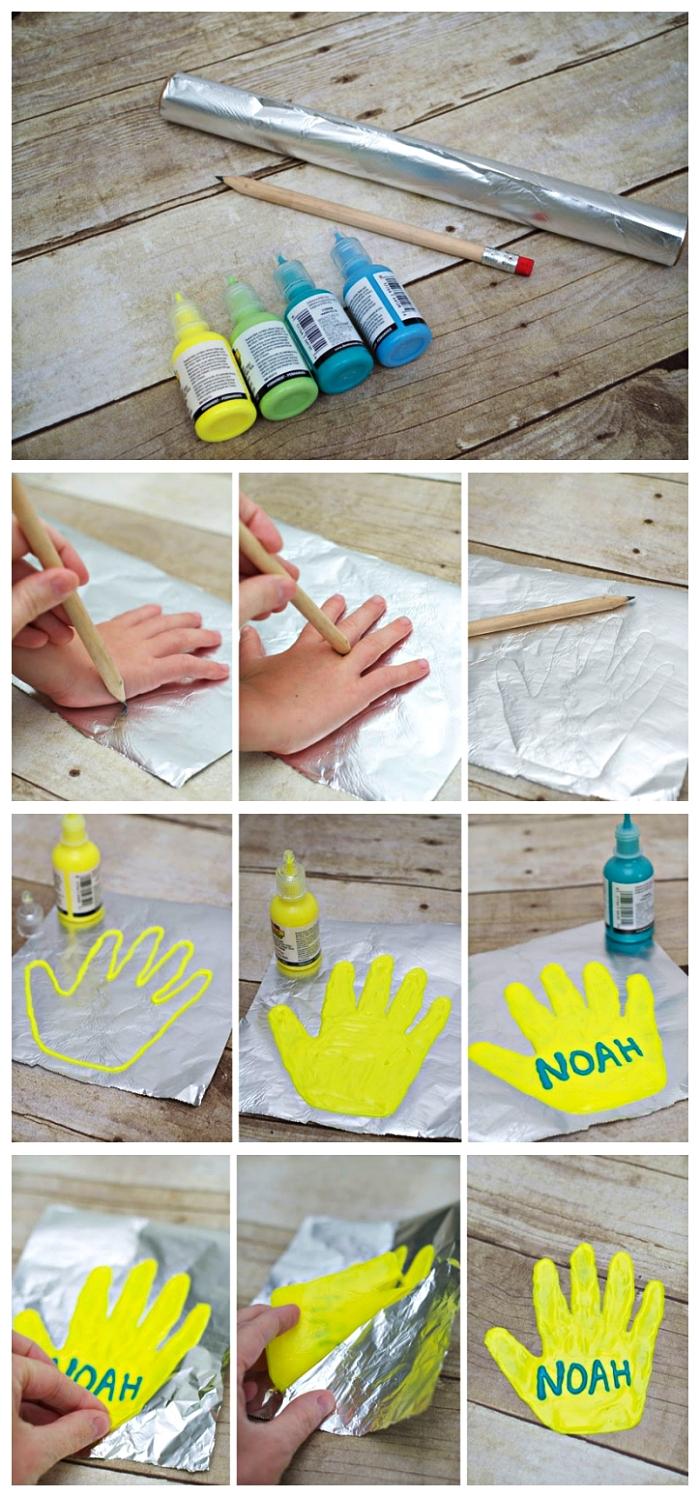 comment réaliser une une décoration de fenêtre originale pour la fête des mères, réaliser une empreinte de mains en peinture gonflante