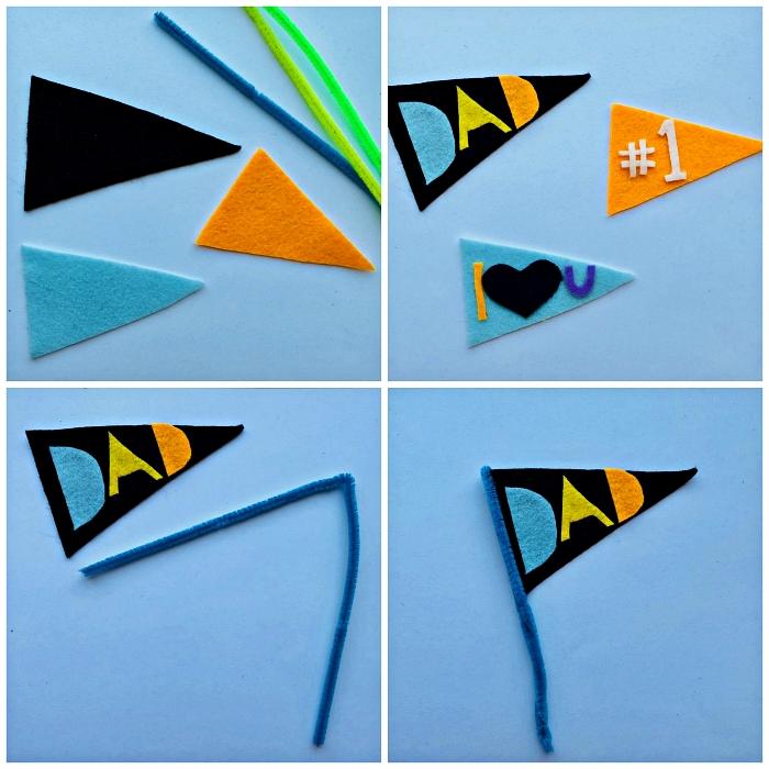 des drapeaux en feutre à réaliser avec les enfants de la maternelle à l'occasion de la fête des pères, cadeau fête des pères à fabriquer 2 ans