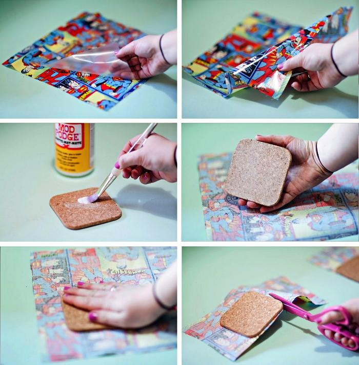 bricolage facile pour les petits pour fabriquer un cadeau fete des pere original, dessous de verre super héros à fabriquer soi même