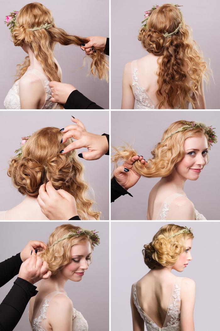 comment faire un chignon de mariage sur le côté avec accessoire fleuri, exemple chignon bas sur cheveux longs et bouclés