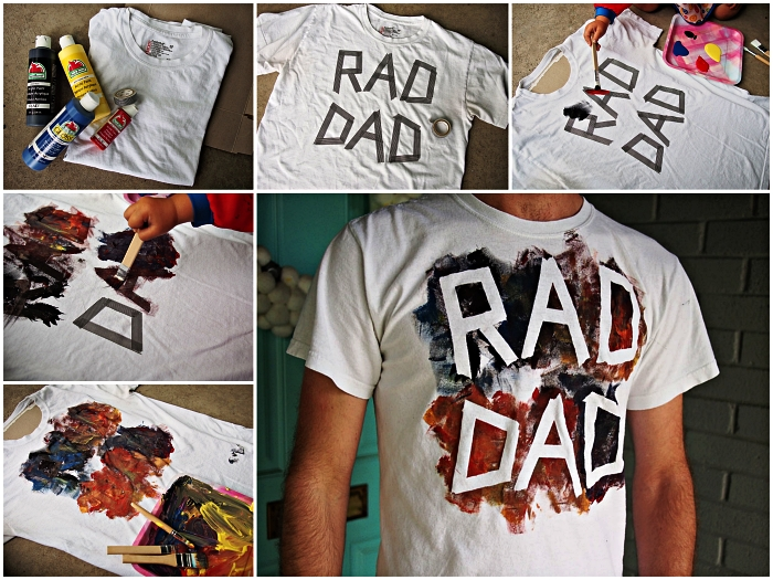 idée de cadeau fete des pere original à réaliser avec les enfants de la maternelle, t-shirt personnalisée avec la peinture pour textile à message cool papa