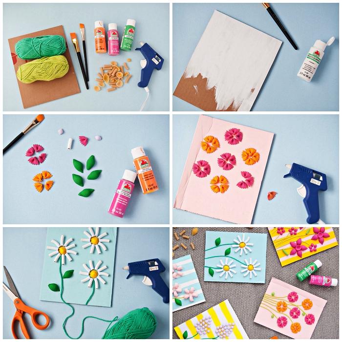 tuto pour fabriquer des cartes de fêtes des mères en pâtes alimentaires, activité manuelle fete des meres ludique et originale