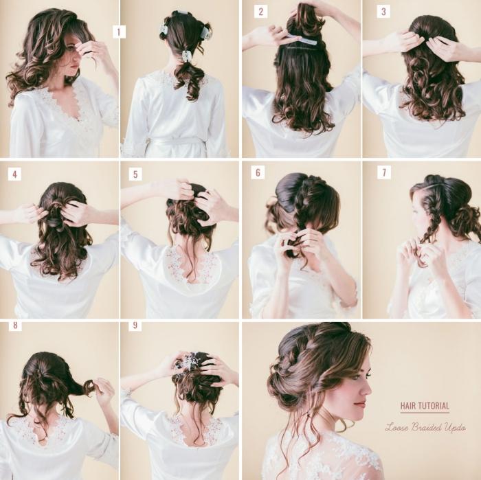 coiffure mariage boheme aux cheveux en chignon, comment faire un chignon bas flou avec couronne tressée