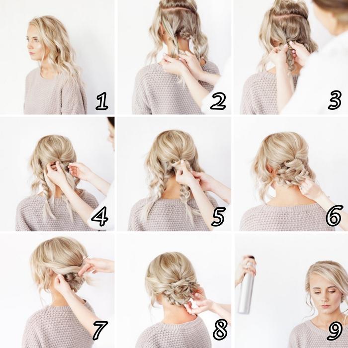 exemple de coiffure rapide cheveux long, comment réaliser un chignon bas pour mariage, technique chignon tressé facile