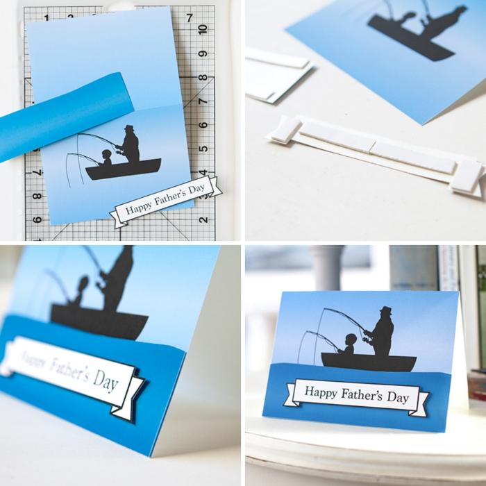 activité fete des peres, modèle de carte fête des pères à imprimer avec étiquette Bonne Fête papa, pas à pas pour faire une carte