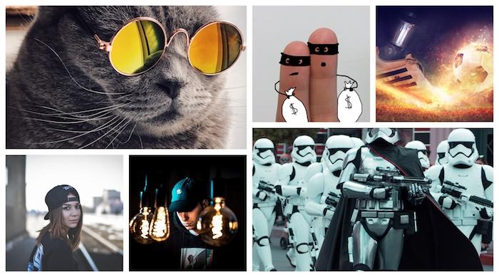 Cool chat avec lunettes rondes, deux doigts animés comme voleurs, stormtroopers et tout ce qui est swag sur un collage chouette