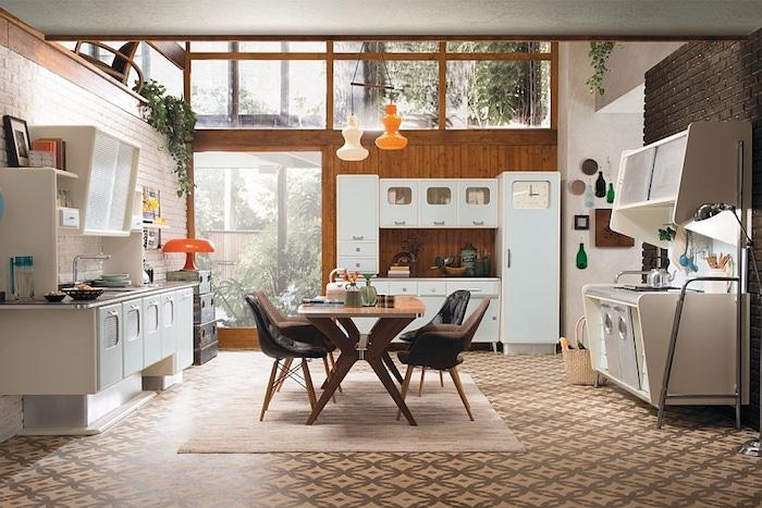 Rétro idée comment décorer la cuisine avec coin à manger au centre, cuisine vintage, intérieur déco rétro style tendance