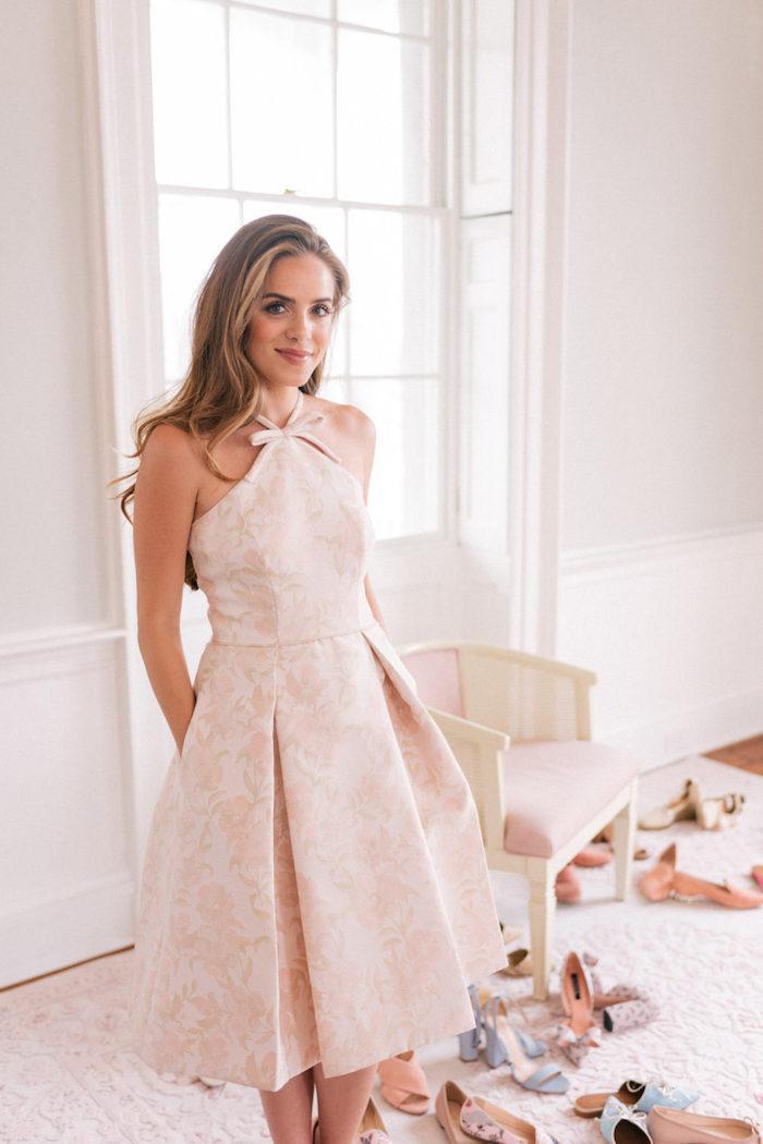 Courte robe de princesse rose pale, robe de ceremonie, tenue d'événement spécial, robe de soirée cérémonie