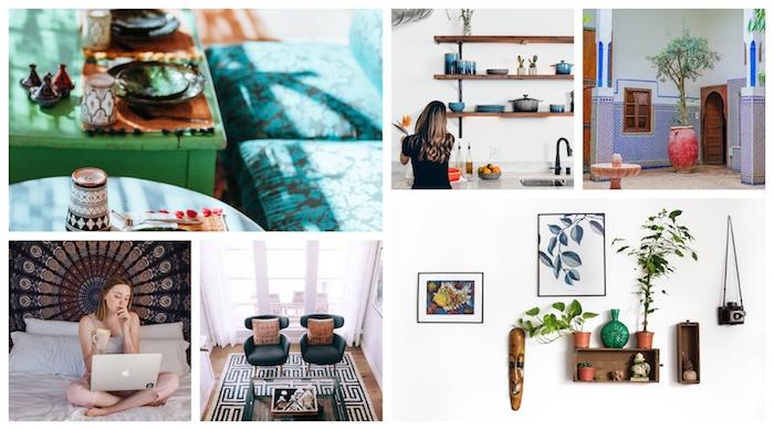 Collage deco boheme, tapis berbere, deco ethnique, cool idée décoration coloré, le vert et le bleu dans la salle à manger et le salon