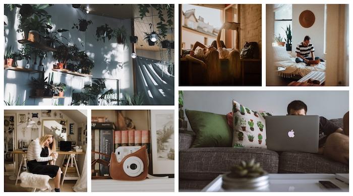 Idée deco boheme chic, déco berbère, intérieur moderne et simple, belle photo artistique, appareil de photo instantané cuir croquis, chambre avec plantes vertes en étagères sur le mur