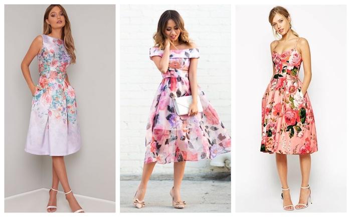 Les robes fleuries convenables pour assister à un mariage 2019 été, robe femme habillée, robe de cocktail pour mariage chic