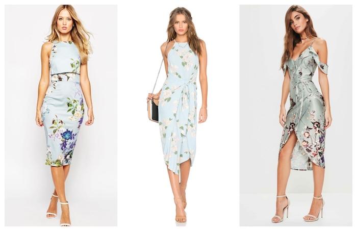 Femme robe de soirée chic bleu fleurie, femme robe de cocktail pour mariage chic, modèle de robe mi-longue pour mariage