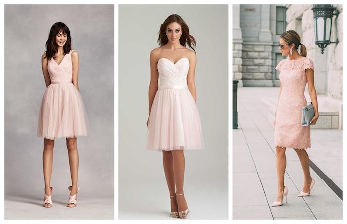 Mignonne robe champetre rose, robe de cocktail pour mariage chic en dentelle, image inspiration tenue invitée mariage
