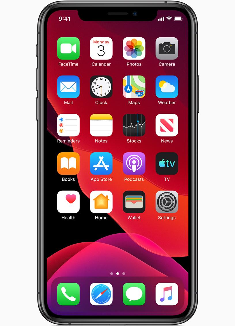 image du nouvel iOS 13 d'apple présenté lors du wwdc 2019 avec dark mode nuit disponible pour iPhone 6 et iPad