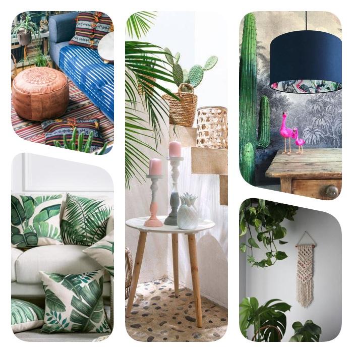 plusieurs petits accessoires deco jungle, pouf cuir, coussins imprimé palmier, ananas figurine, cache pot tressé, macramé mural et figurine cactus et flamant rose