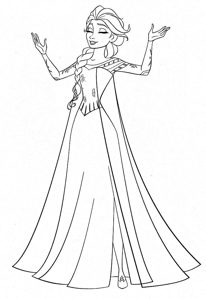 dessin a colorier disney avec princesse elsa en jolie robe, idée d'activité anniversaire la reine des neiges, coloriage la reine des neiges