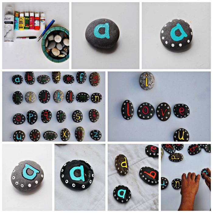 dessin sur galet lisse pour apprendre les lettres de l'alphabet, activité de peinture sur des galets décoratifs pour apprendre les lettres