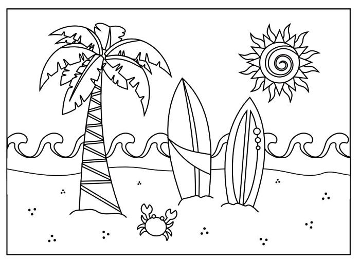 coloriage maternelle sur le thème de la plage et des vacances, activité de coloriage enfants pour les vacances, coloriage plage à dessins palmier, plaches de surf et petit crabe