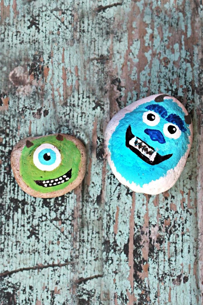 peindre des galets avec les personnages de monstres et cie, activité de peinture amusante sur galets