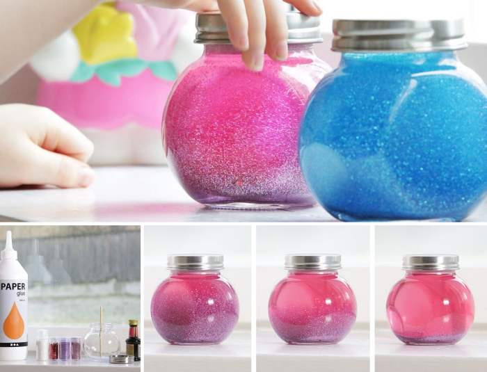 bricolage avec bocal en verre, diy jouet pour enfant, idée activité manuelle maternelle facile et rapide avec bocal et peinture glitter
