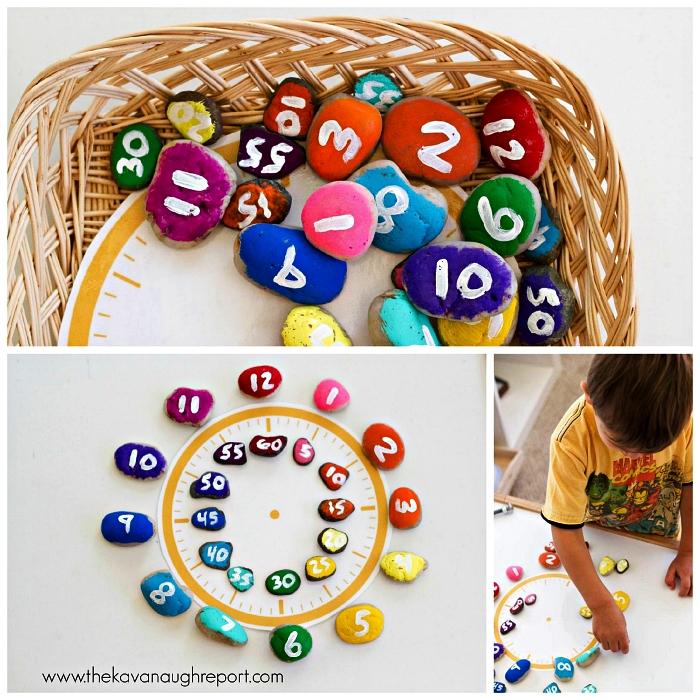 horloge montessori avec galets pour apprendre l'heure aux enfants, que faire pendant les vacances