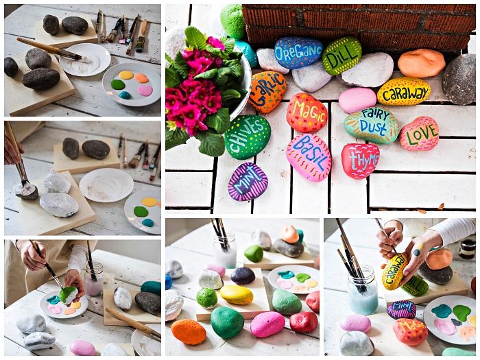 déco de jardin avec galets à faire soi même, réaliser un porte-étiquette galet peint, bricolage facile avec cailloux
