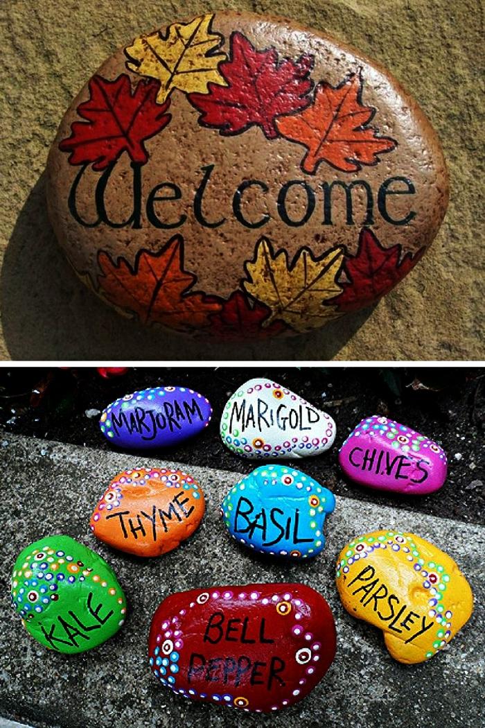 peindre des galets pour réaliser des petits objets de décoration pour le jardin, des galets étiquettes pour le potager