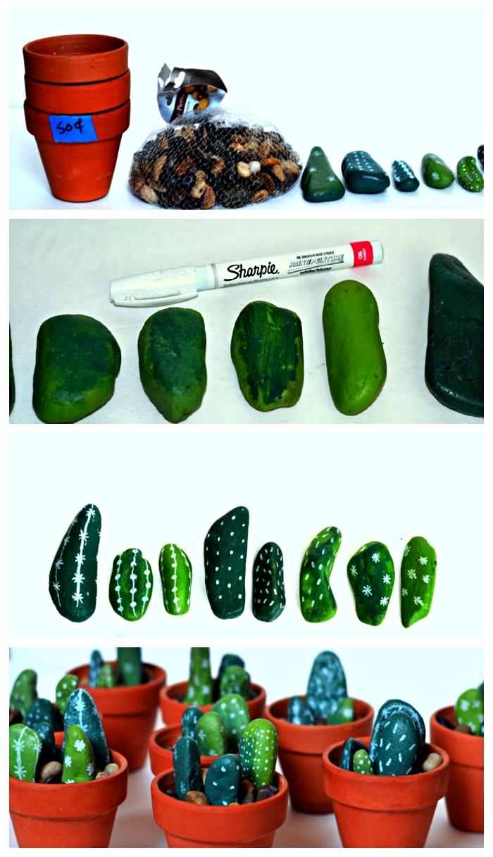 des galets cactus en pots remplis de gravier, des galets peints verts façon cactus plantés dans des pots