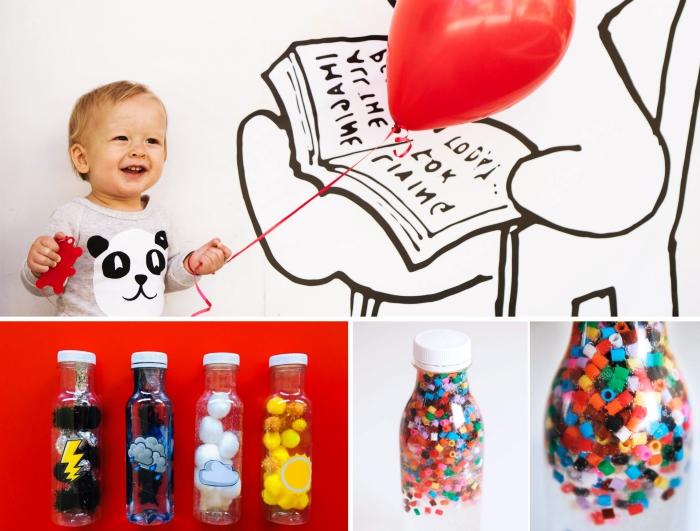 idée activité manuelle 2 ans, fabrication bouteille Montessori pour bébé, avec quoi remplir une bouteille en verre pour faire un jouet