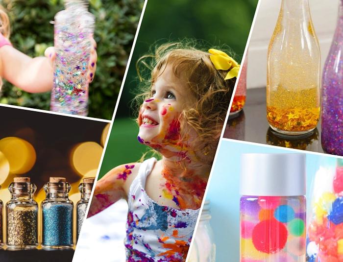 apprendre à réaliser une bouteille sensorielle, idée que faire avec bouteilles en verre, faire un jouet éducatif facile