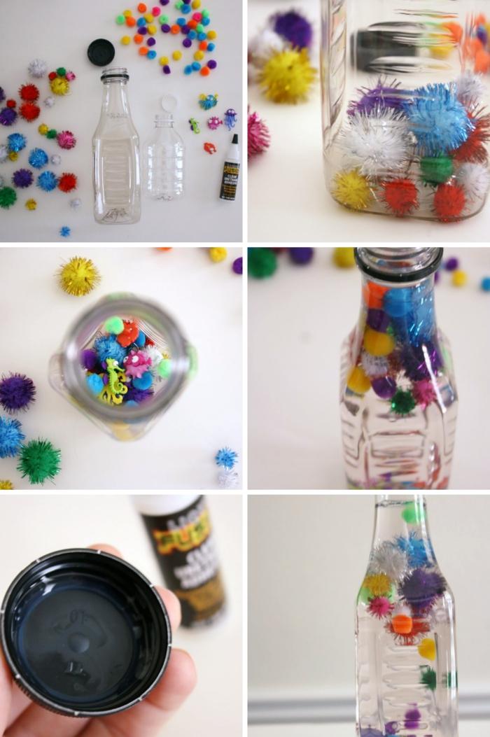 fabriquer des bouteilles sensorielles faciles, tutoriel comment remplir une bouteille en plastique avec eau et pompons