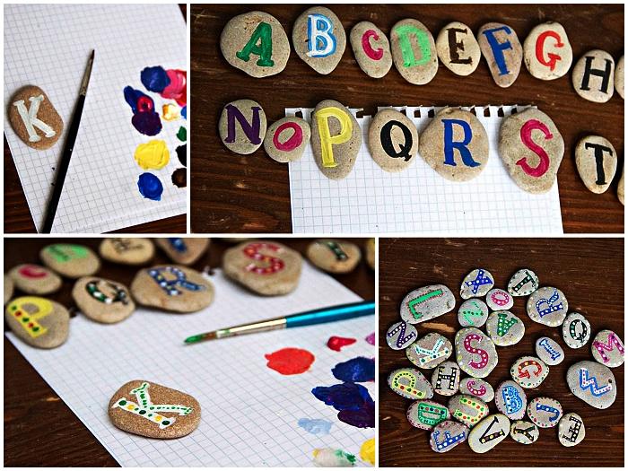 que faire pendant les vacances pour occuper les enfants, peindre les lettres de l'alphabet sur des galets
