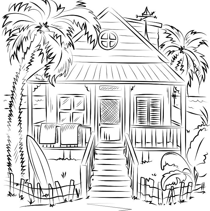 coloriage maison sur la plage entourée de palmiers, pages à colorier gratuites à imprimer, coloriage enfant maison