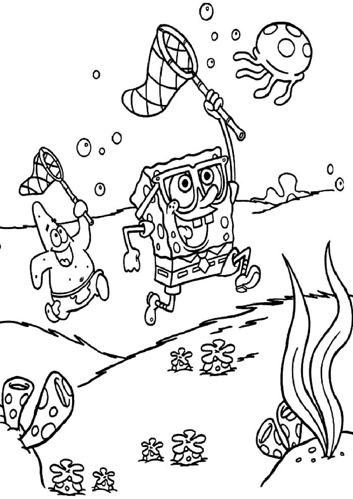 coloriage dessin animé l'éponge bob et patrick jouant au fond de la mer, dessin gratuit à imprimer et à colorier