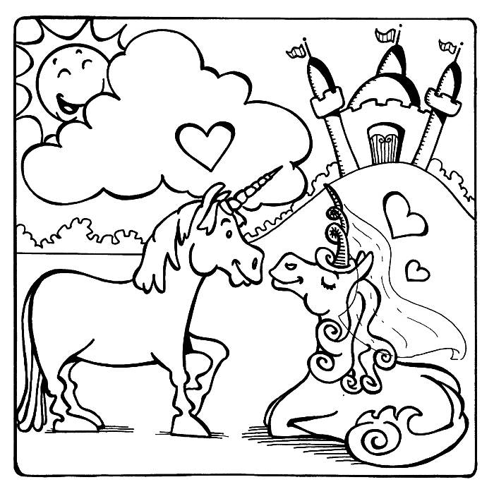 dessin a colorier avec deux petites licornes amoureux et un château, coloriage facile pour les tout petits