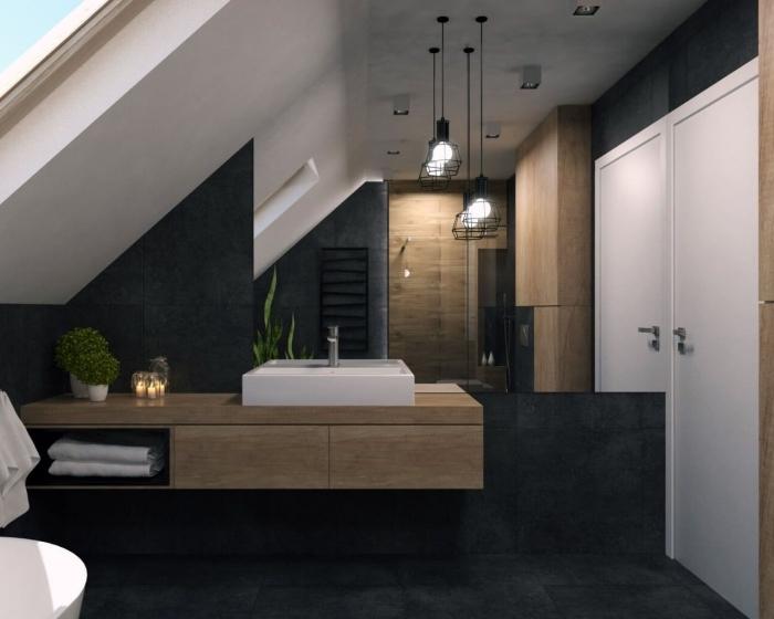 décoration salle de bain sous combles à design moderne, modèle salle de bain aux murs gris anthracite et meubles bois