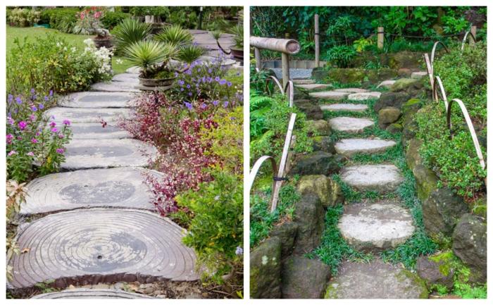 allées de jardin pour jardin paysager, magnifiques jardins verts, pas japonais, bordure de jardin pierres, massifs de fleurs