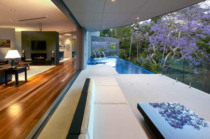 aménagemen extérieur maison, piscine moderne, terrasse béton, villa moderne, fontaines de piscine